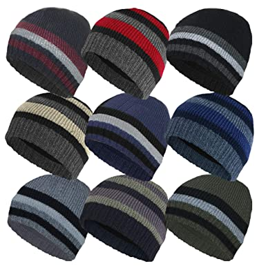 9f409ef86d12f MENS KNITTED STRIPED THINSULATE FLEECE LINED BEANIE HAT-BLK RED   Amazon.co.uk  Clothing