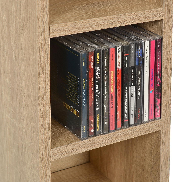 ts-ideen CD-Regal 6 F/ächer Standregal CD Aufbewahrung Holz Eichenoptik 105 x 20 cm