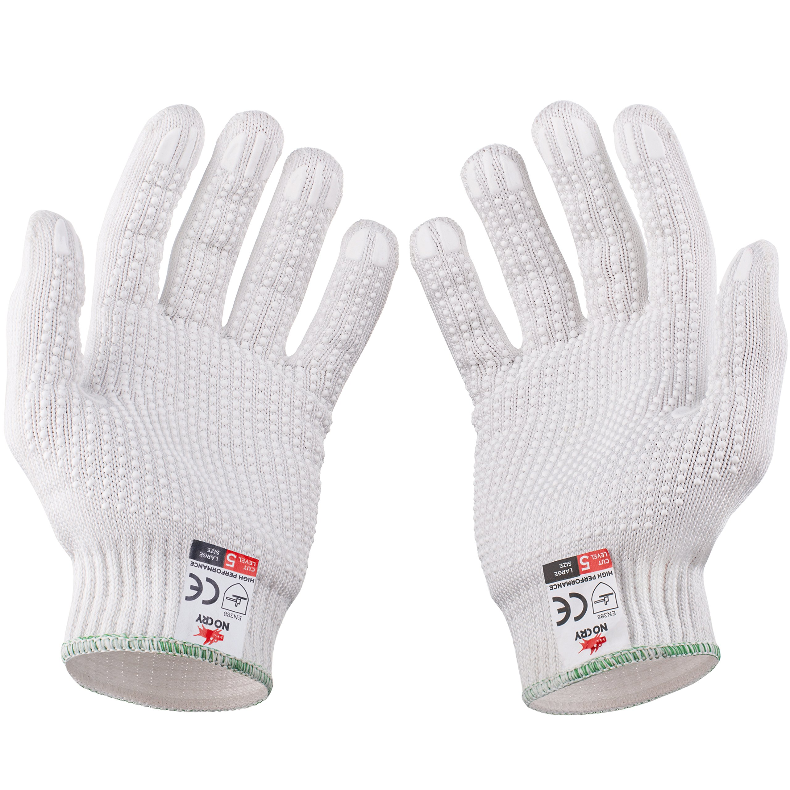 NoCry Cut Resistant Protective Work Gloves with Rubber Grip Dots. Tough and Durable Stainless Steel Material, EN388 Certified. 1 Pair. White, Size Large by NoCry (Image #8)