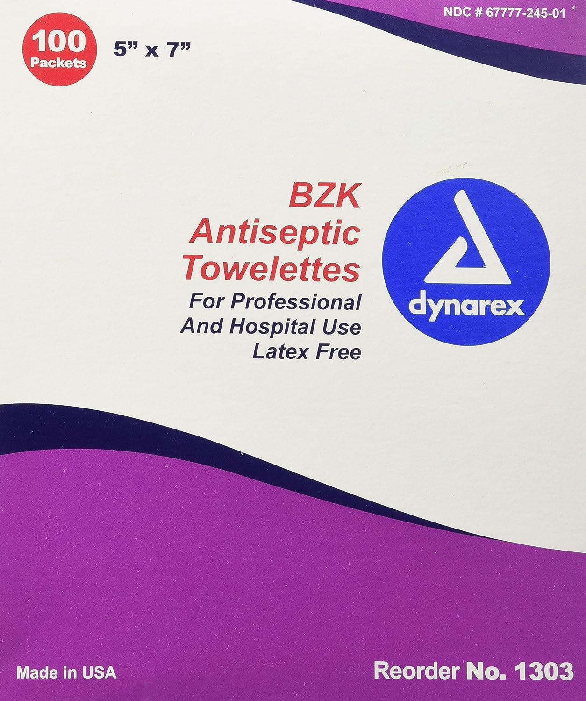 Dynarex Antiseptic Wipe Benzalkonium BZK First Aid Wipes 100/Box