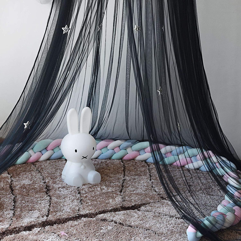 Cama con dosel mosquitera cortinas con plumas y estrellas Bonita decoraci/ón para beb/és y ni/ñas adolescentes y dormitorio adolescente de Babys blanco