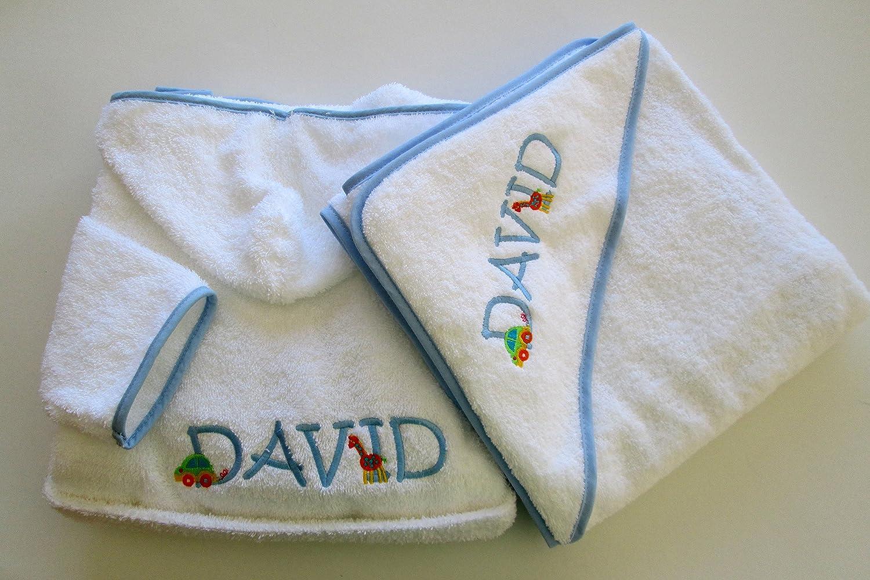 Persönlichen Set Bademantel und Baby Kapuzen Handtuch – Monogramm (2 Buchstaben) White with Blue