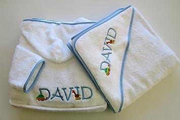 Personalizado juego de albornoz y toalla para bebé con capucha - Monogram (2 cartas): Amazon.es: Hogar