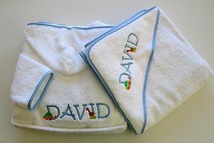 Personalizado juego de albornoz y toalla para bebé con capucha – Monogram (2 cartas)