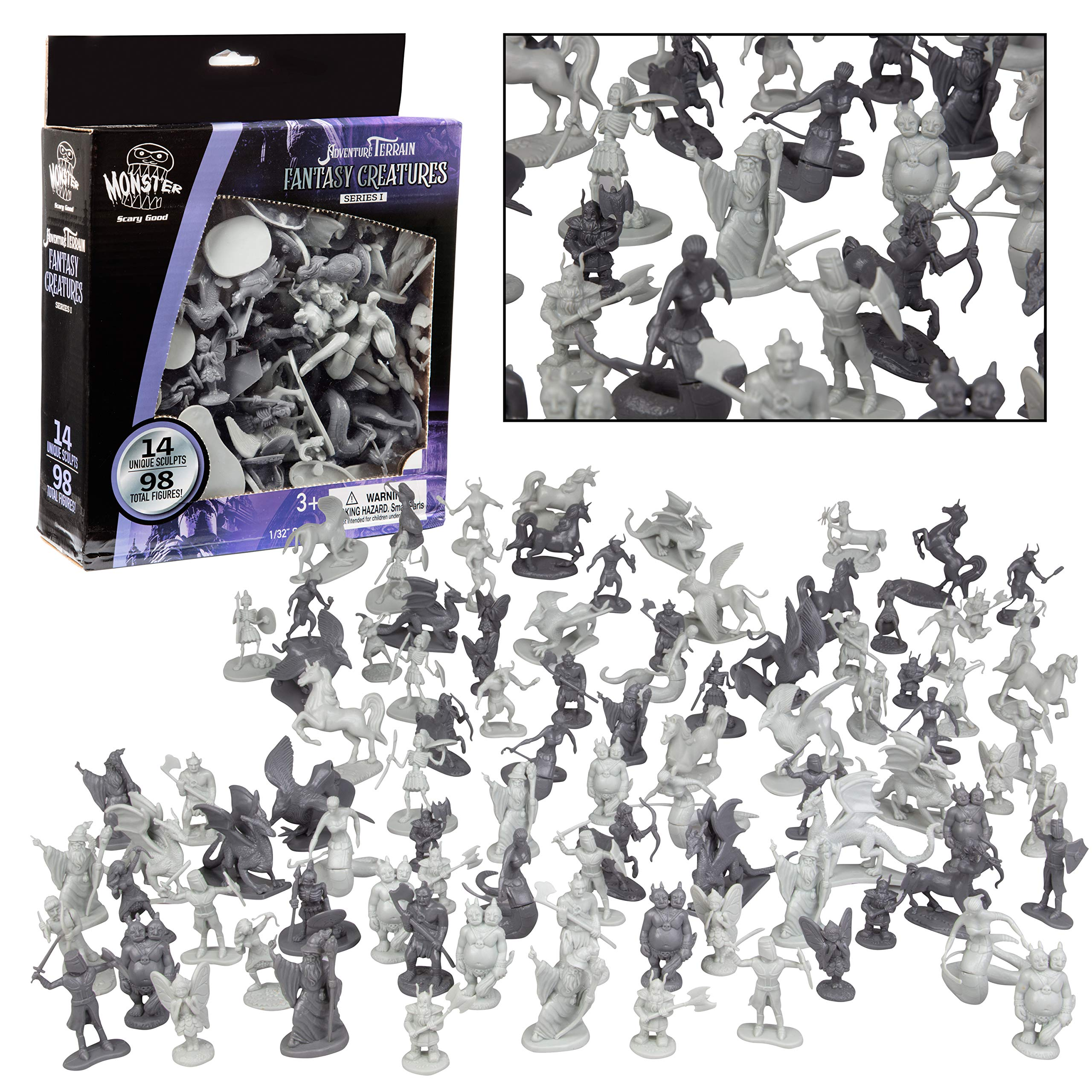 Fantasy Creature Mini Action Figure Playset-98pc Monster Toy Miniatures w 14 Unique Sculpts - Dragons, Wizards, Orcs, and More- XL 1/32nd Scale Dungeon Character Accessories
