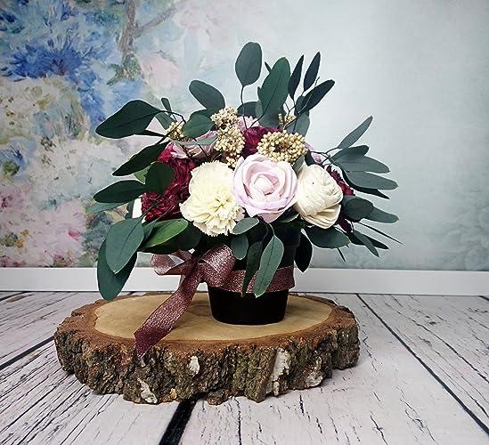 amazon com centerpiece floral arrangement in a pot wooden flowers rh amazon com centerpiece floral arrangements for weddings centerpiece floral arrangements for weddings