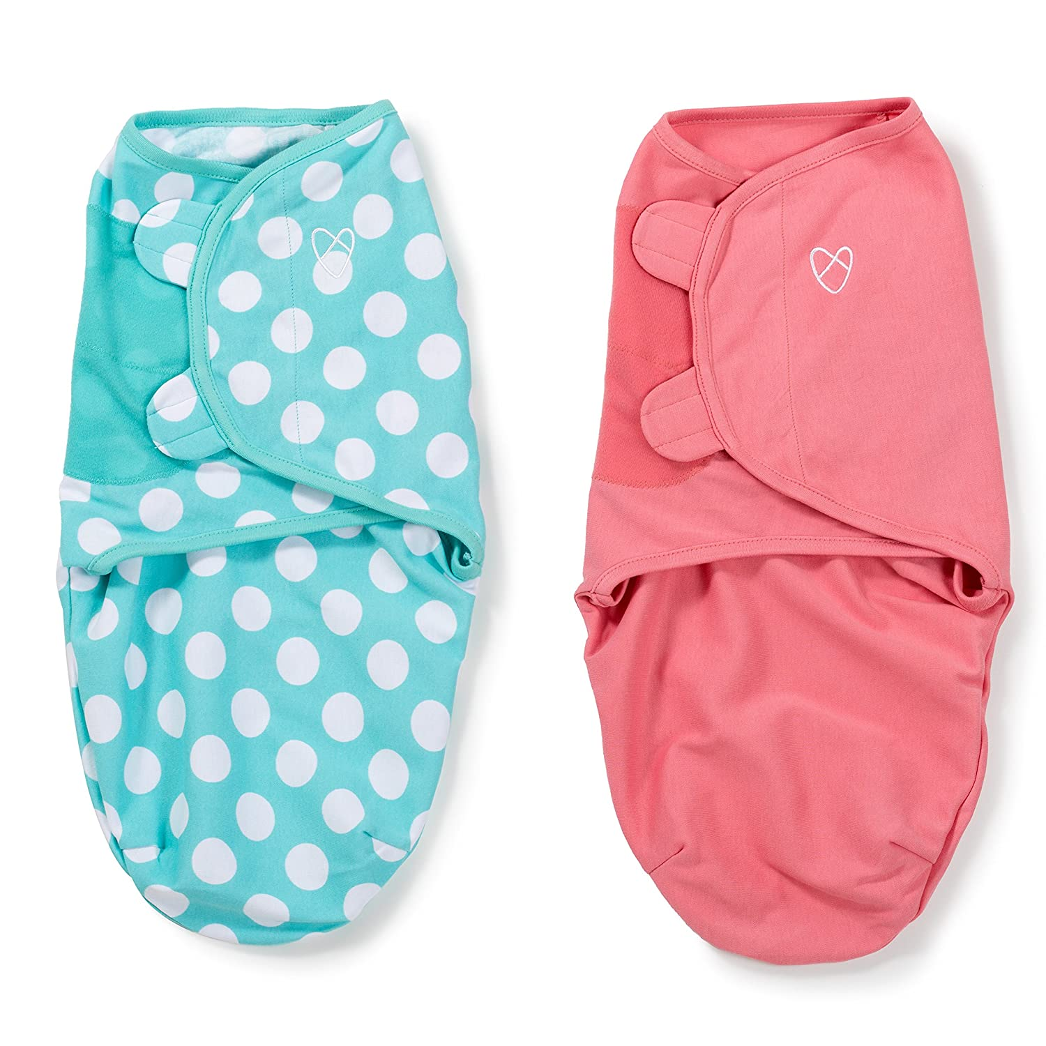 SwaddleMe Original Swaddle (Pink and Teal Dot Small, Pack of 2) 87206