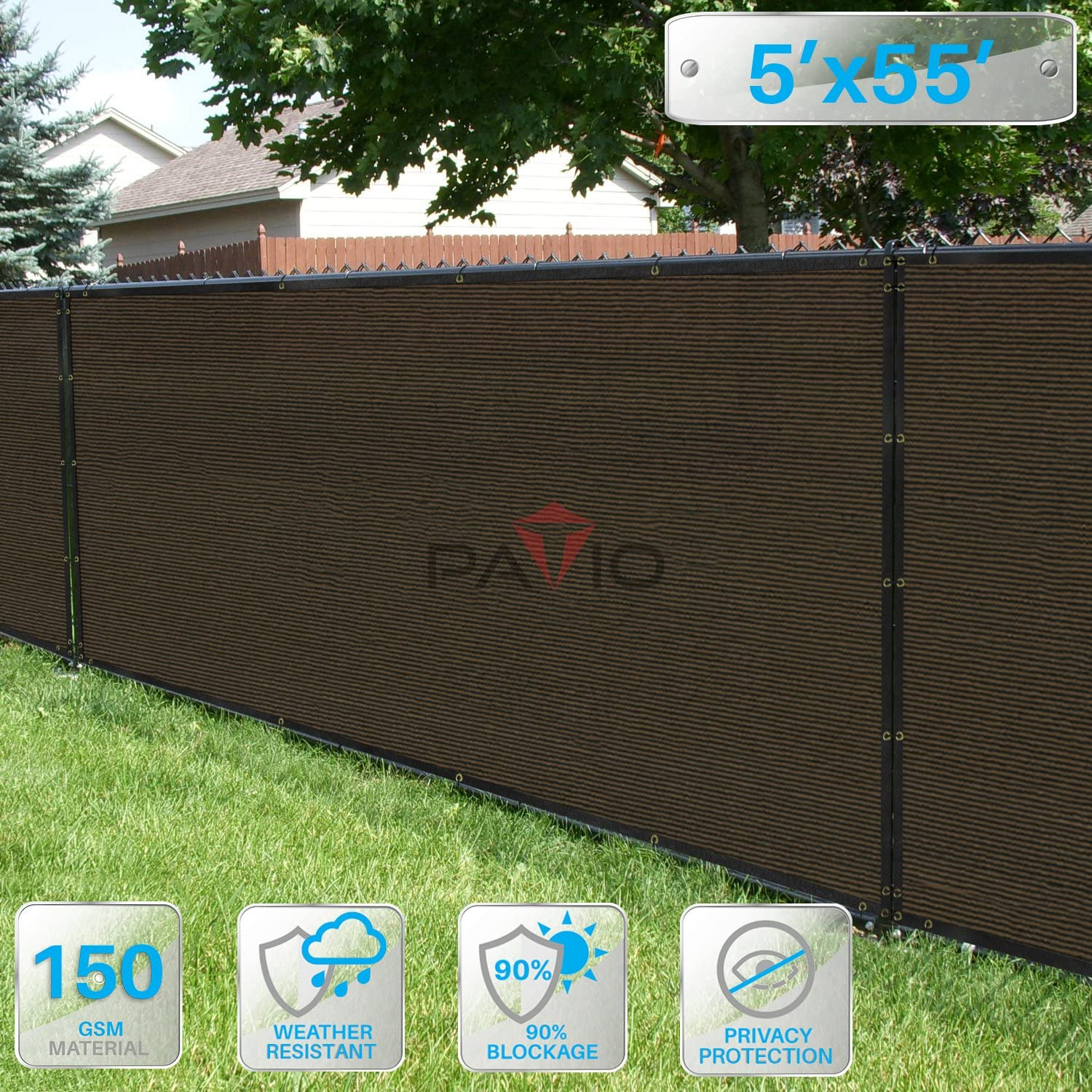 Patio Paradise 5 x 55 Privacy Screen Fence in Brown, Commercial Grand Mesh Shade Fabric with Brass Gromment Outdoor Windscren – Custom