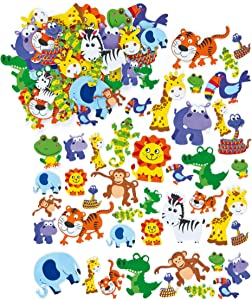Baker Ross Jungle Animal Foam Stickers (Pack of 96) Self Adhesive Puffy Scrapbook Stickers