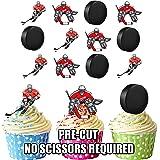 vorgeschnittenen Eishockey Spieler & Puck Mix–Essbare Cupcake Topper/Kuchen Dekorationen (12Stück)
