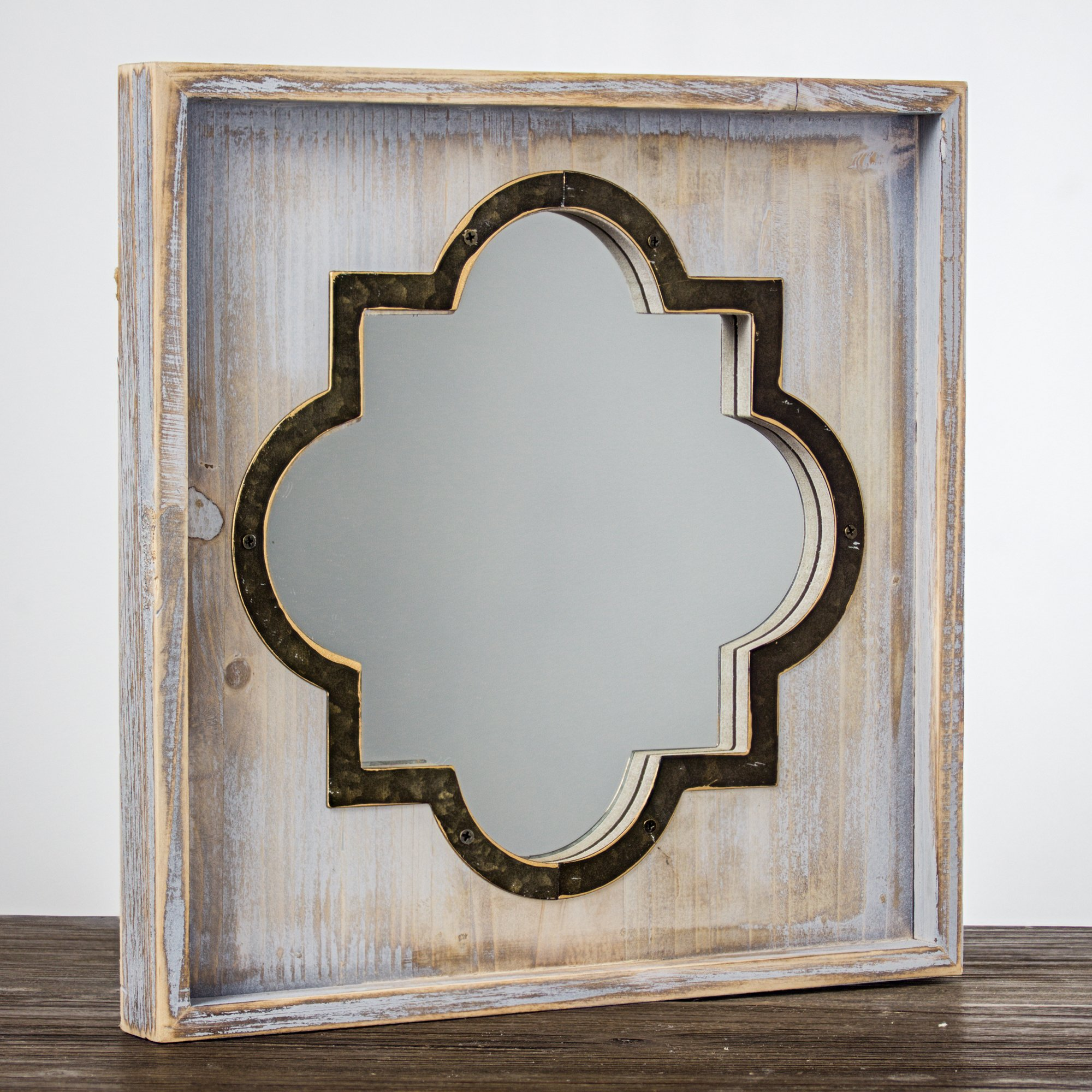 Crystal Art Whitewashed Rustic Wood & Metal Vanity Mirror (Square), Farmhouse Wall Décor, Multicolor by Crystal Art (Image #5)