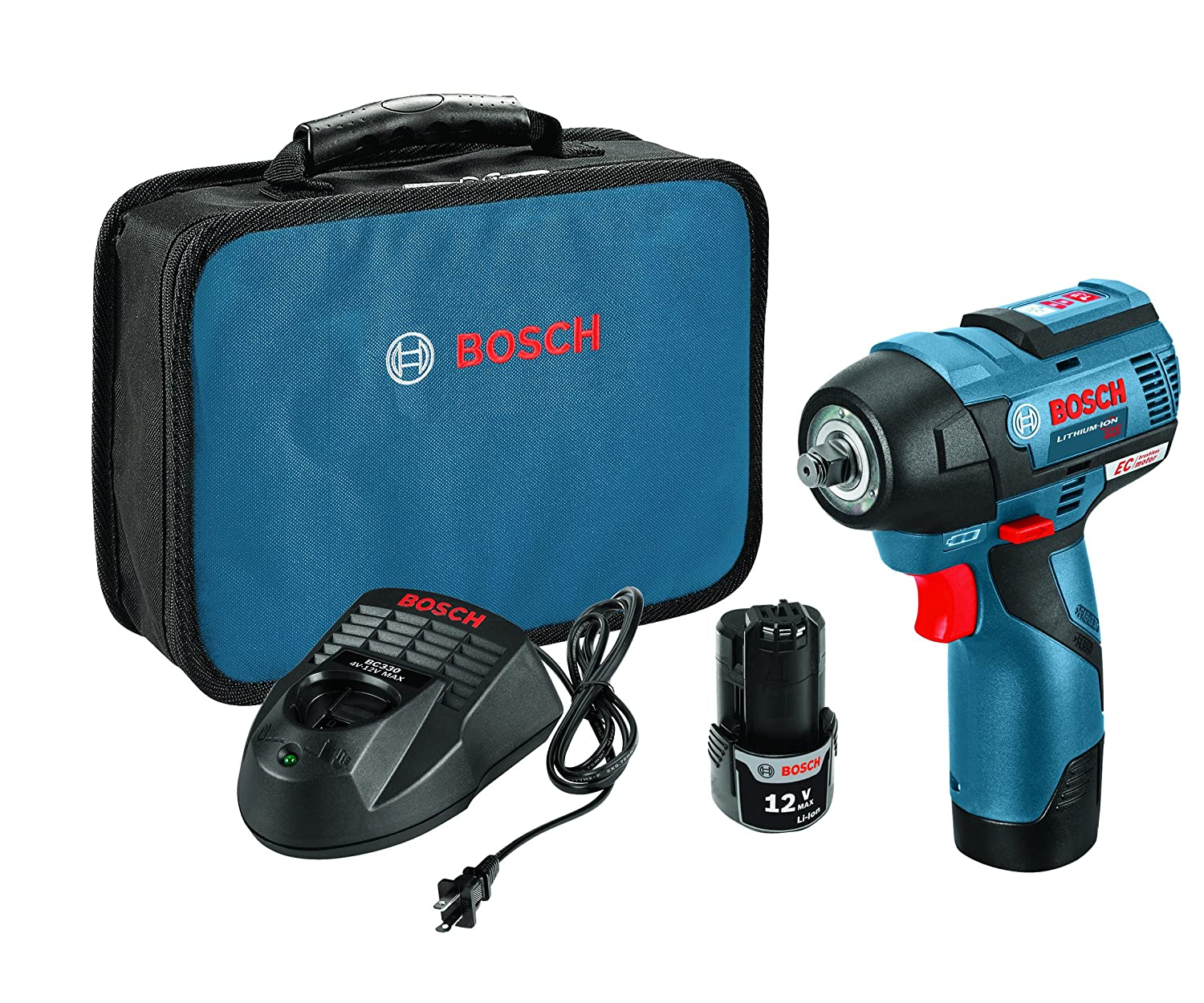 Bosch PS82-02 12V Max EC Brushless 3 8 Impact Wrench Kit