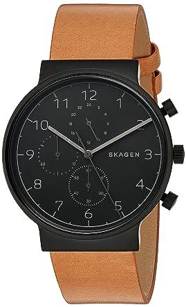 ea182b6d6 Amazon.com: Skagen Men's SKW6359 Ancher Brown Leather Chronograph ...
