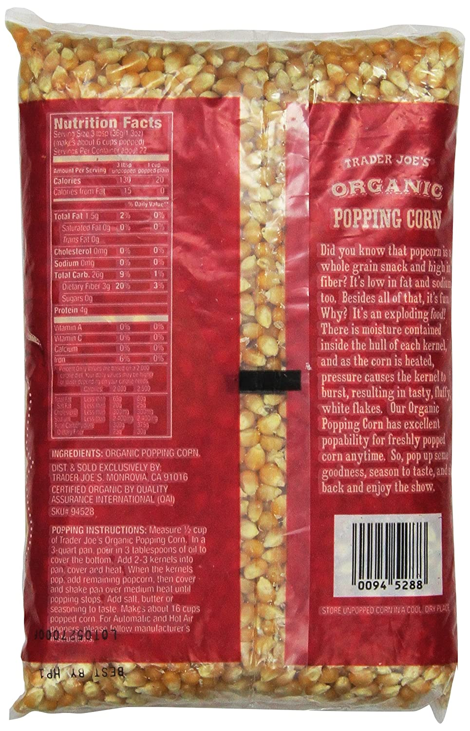 Amazon Com Trader Joe S Organic Popping Corn 28 Oz 1 Lb 12 Oz 794g