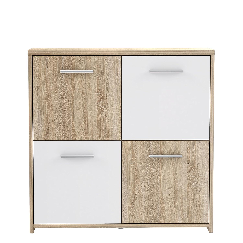 NEWFACE Preiswerte Kommode , Holz, Sonoma Eiche Dekor Kombiniert Mit Weiß, 77.2 x 29.6 x 77.5 cm