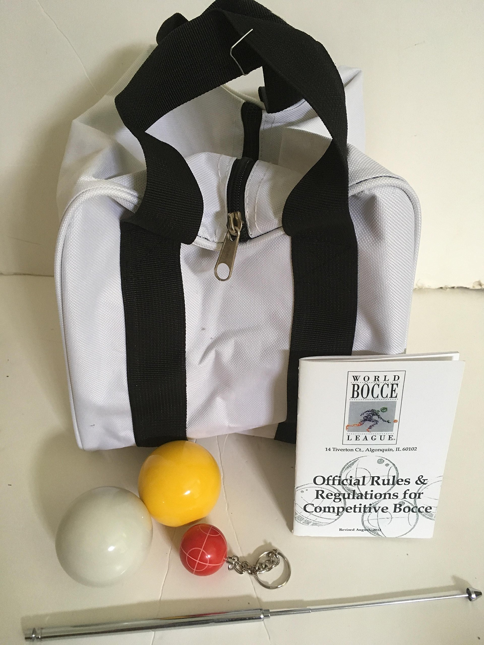 Unique Bocce Ball Accessories Package - Extra Heavy Duty Nylon Bocce Bag (White with Black Handles), yellow and white pallinas, Extendable Measuring Device, Rule Book and Keychain