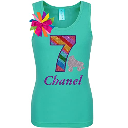 Rainbow Glitter Roller Skate 7th Birthday Shirt 7 Derby Skating Glow Party Girls Personalized Gift