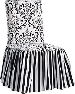 classic slipcovers damask stripe ruffled long skirt dining chair slipcover black white amazon    lifestyle covers modern striped futon cover with      rh   amazon