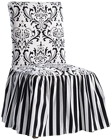 Classic Slipcovers Damask Stripe Ruffled Long Skirt Dining Chair Slipcover Black White