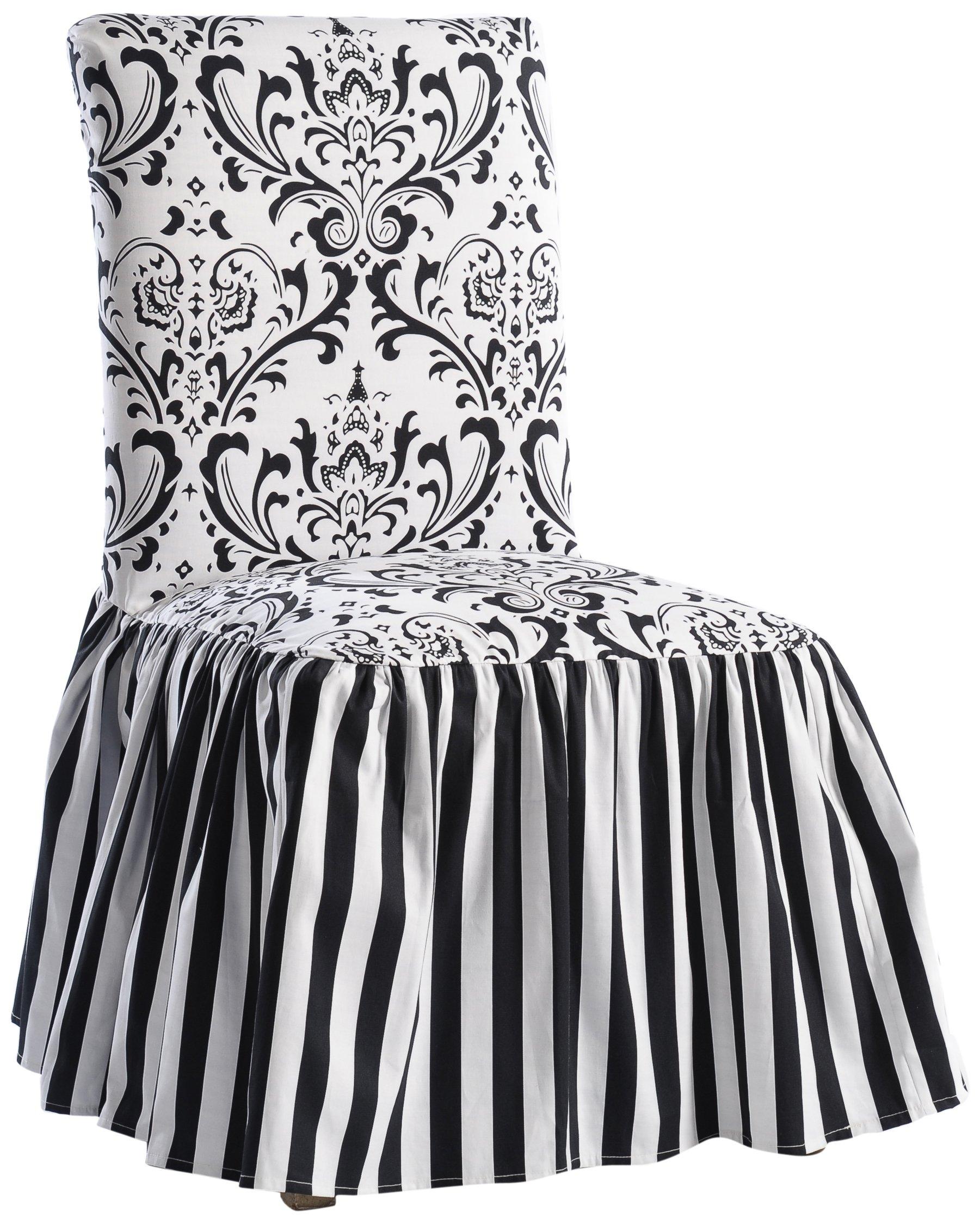 Classic Slipcovers Damask/Stripe Ruffled Long Skirt Dining Chair Slipcover, Black/White