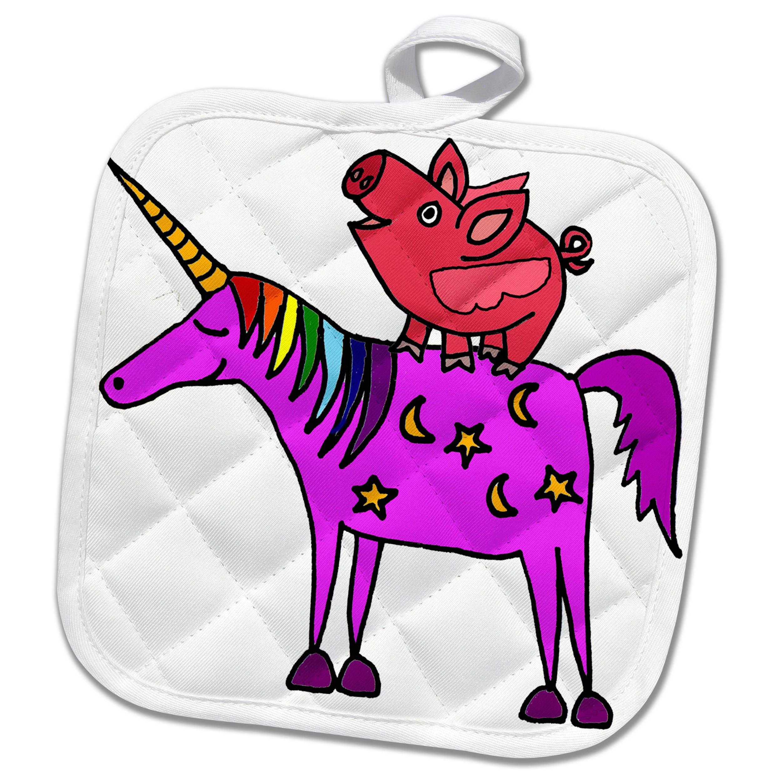 3dRose Funny Cool Flying Pig Riding Unicorn Cartoon Pot Holder,