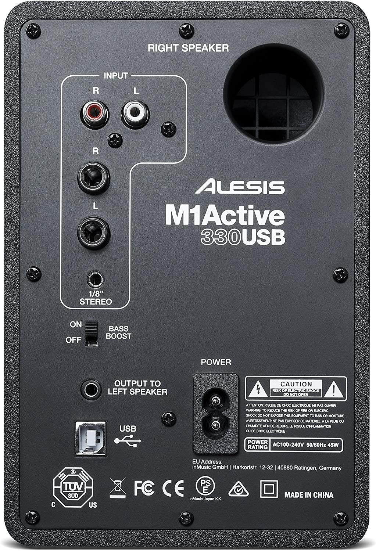 Paar 3-Zoll-Aluminium-Tieft/önern und Bass-Boost Professionelles USB-Desktop-Lautsprechersystem Alesis M1Active 330 USB mit USB-Audio-Interface
