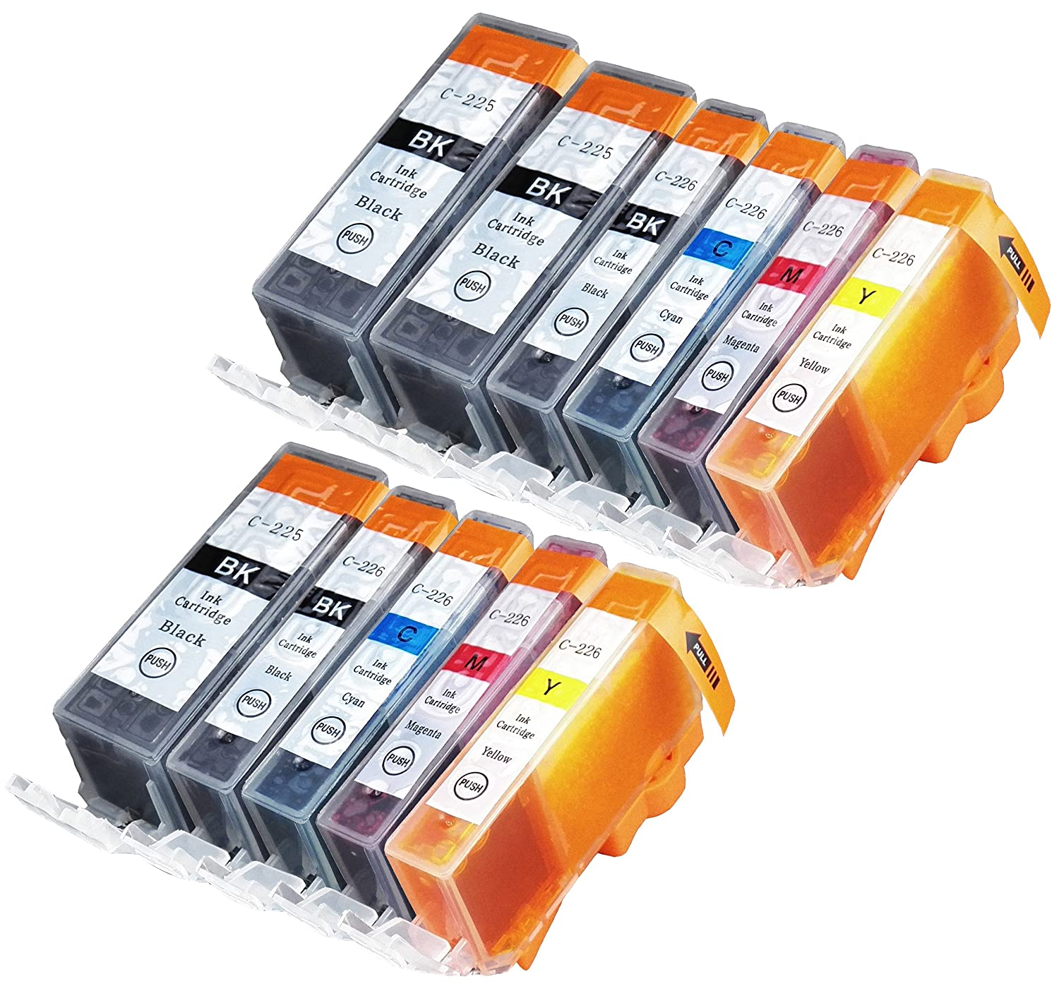 11 Pack Compatible Canon CLI-226 , PGI-225 3 Big Black, 2 Small Black, 2 Cyan, 2 Magenta, 2 Yellow for use with Canon PIXMA iP4820, PIXMA iP4920, PIXMA iX6520, PIXMA MG5120, PIXMA MG5220, PIXMA MG5320, PIXMA MG6120, PIXMA MG6220, PIXMA MG8120, PIXMA MG8120