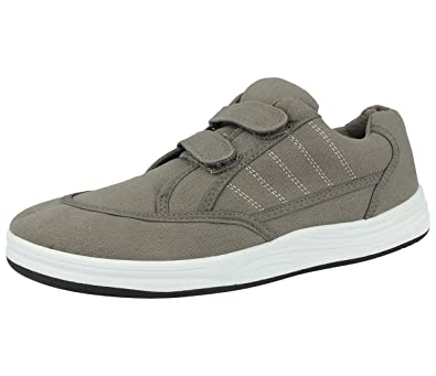 d96589f6e95a Mens Canvas Double Strap Touch Close Low Top Trainers Shoes Size 6-12 (UK