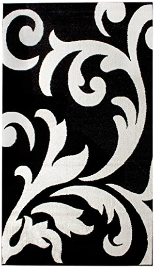 Amazon Com Super Area Rugs Metro Stain Resistant White Damask Rug