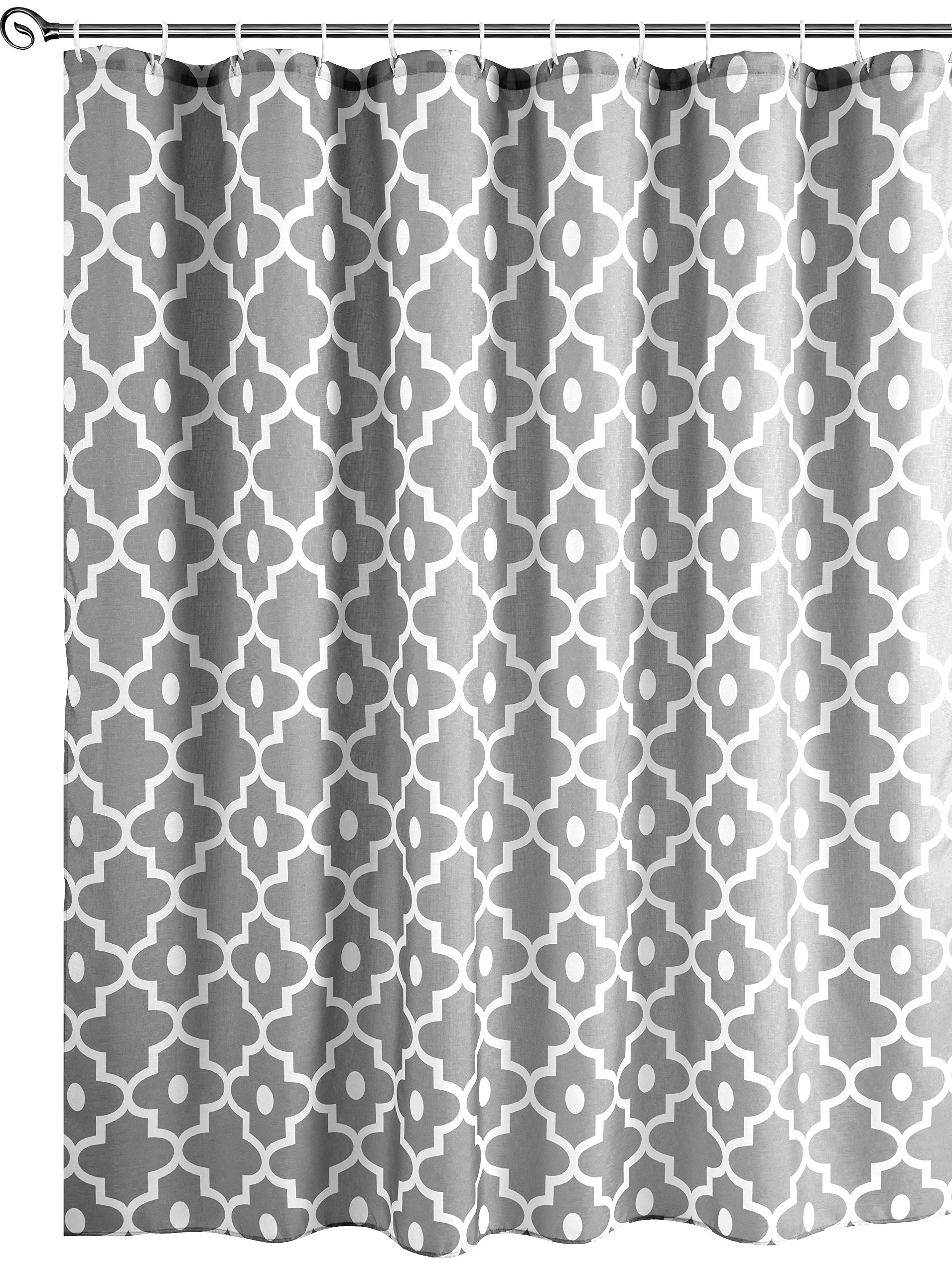 Biscaynebay Textured Fabric Shower Curtains, Morocco Pearl Prinetd Bathroom Curtains, Silver Grey 72 by 72 Inches by Biscaynebay