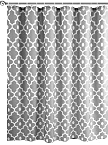 Biscaynebay Textured Fabric Shower Curtain Printed Morocco Pearl Bathroom Curtains, Silver Grey 72 by 72 Inches