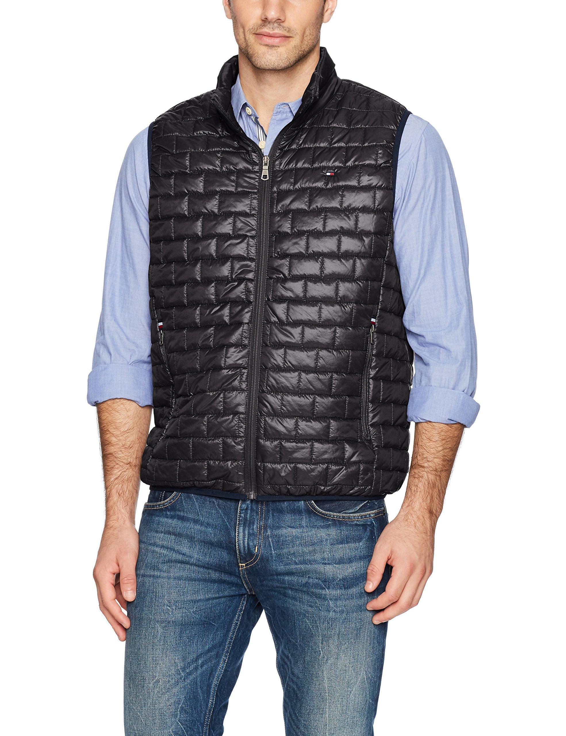 Tommy Hilfiger Men's Box Quilted Lightweight Ultra Loft Vest, Black, X-Large by Tommy Hilfiger