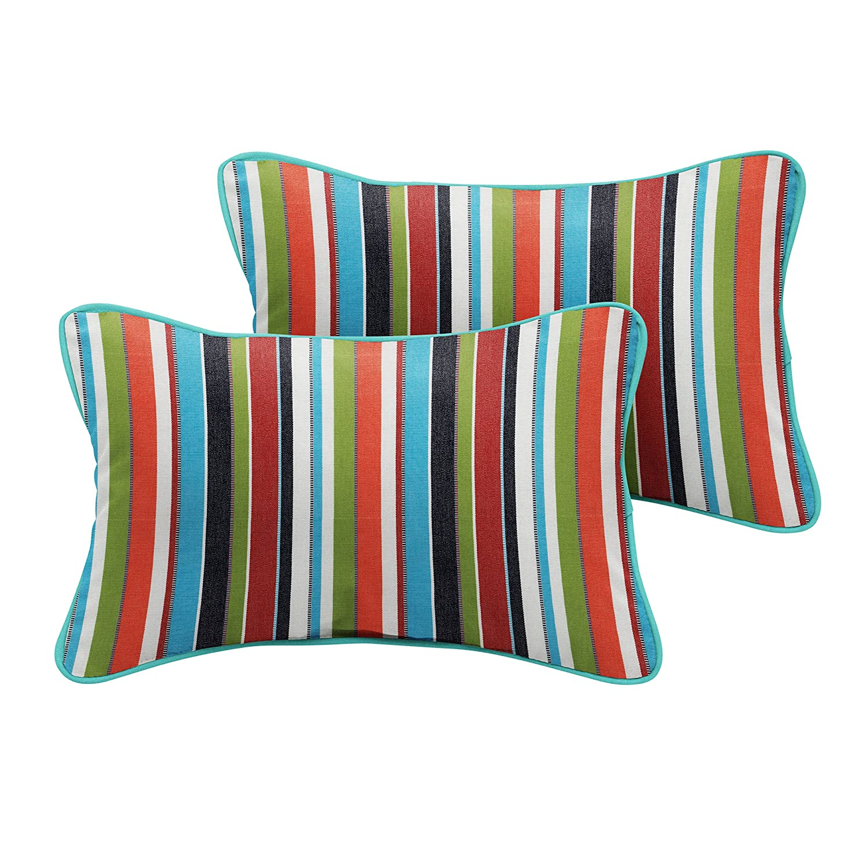 Set of 2 Carousel Confetti and Canvas Aruba Mozaic Company Sunbrella Indoor// Outdoor Corded Pillows