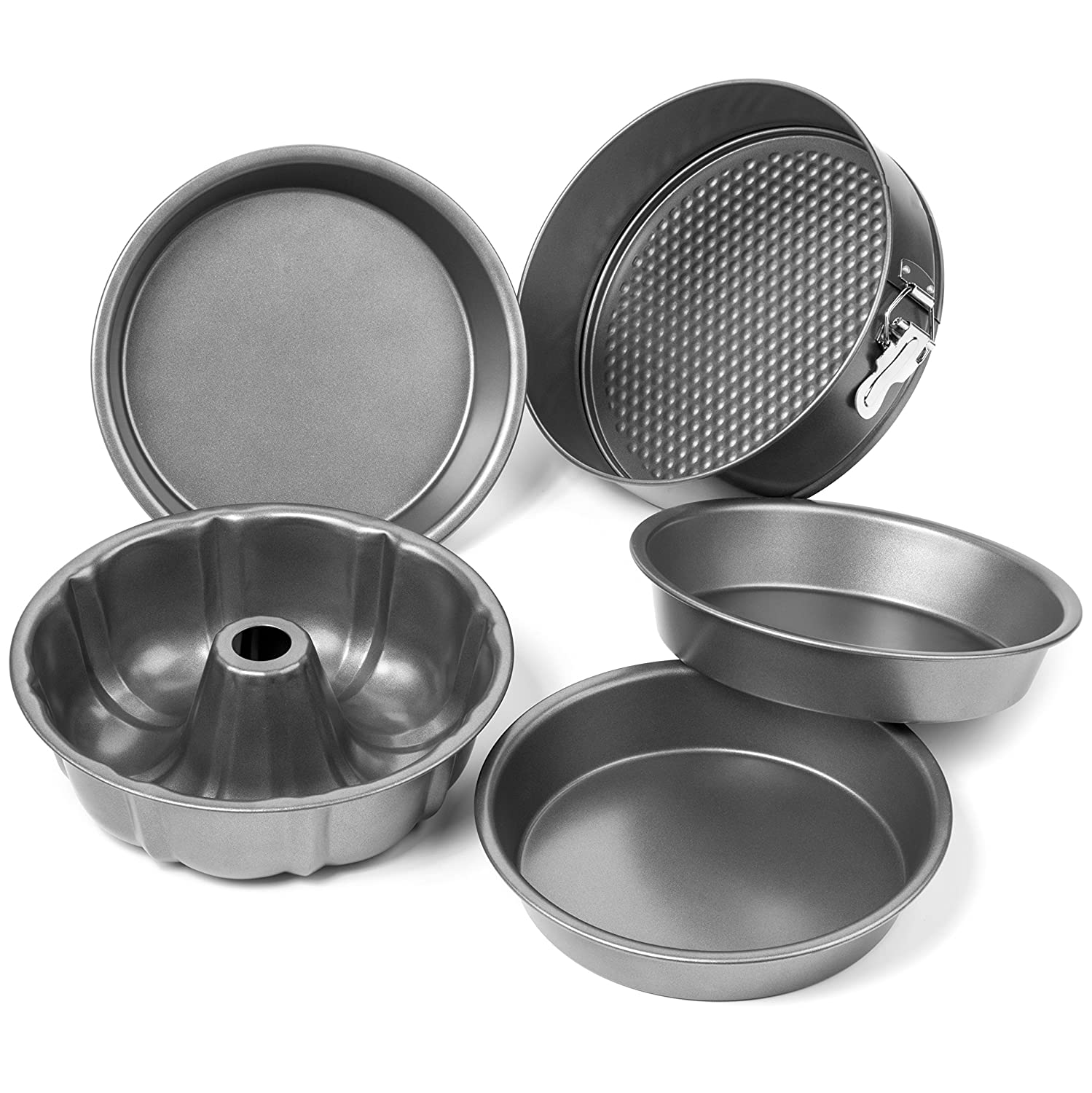 Elite Bakeware 5 Piece Nonstick Cake Pans Set with 9 Inch Round Cake Pans  9 Inch Spring form Cake Pan and 10 In Bundt Cake Pan