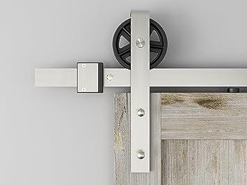 High Quality DIYHD 5.5FT Brushed Nickel Industrial Spoke Wheel Steel Sliding Barn Door  Hardware