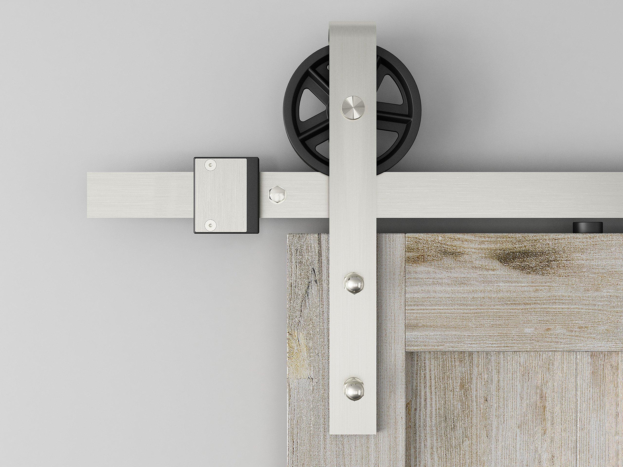 DIYHD 8FT Brushed Nickel Industrial Spoke Wheel Steel Sliding Barn Door Hardware