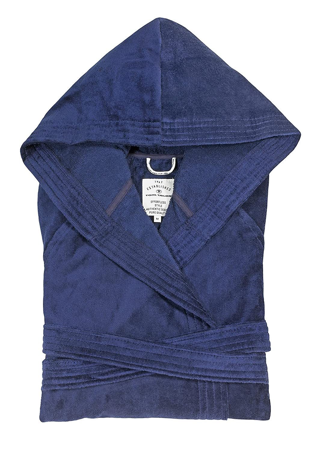 "Tom Tailor 110401/900/700 ""basic velours"" bath robe with hood, Cotton, navy, Small 0110401/908/701/778"