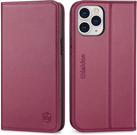 Genuine Leather Wallet Case with Magnetic Closure Card Slot RFID Blocking Red Violet SHIELDON iPhone 12 Pro Max Case TPU Shockproof Protection Folio Case Compatible with iPhone 12 Pro Max 5G 6.7
