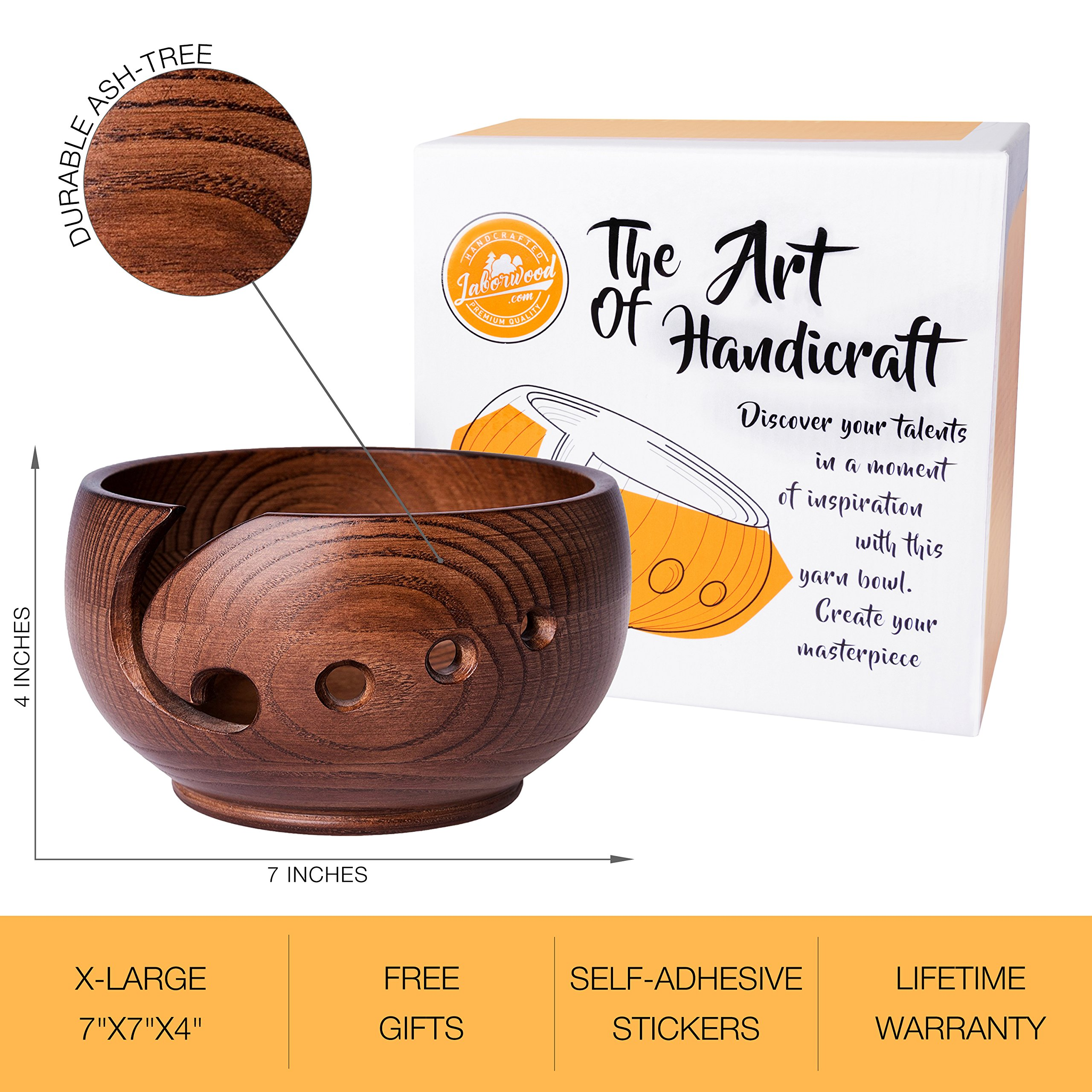 Yarn Bowl for Crochet by Laborwood | Large Size Wooden Knitting Bowl 7''x4'' inch | Handmade Heavy Cat Yarn Bowl Wood | Must Have Wooden Knitting Bowls | Set of 3 Gifts Bonus | Best Gift Ever (Chestnut) by Laborwood (Image #6)