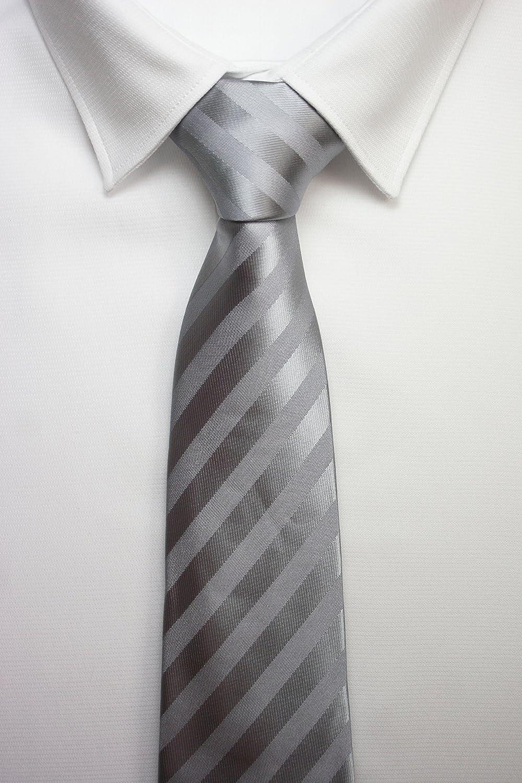 Corbata raya ancha gris plata: Amazon.es: Ropa y accesorios