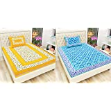 Indram Cotton Single Bedsheet with Pillow Cover - Combo Pack of 2 (Yellow, Sea Green)
