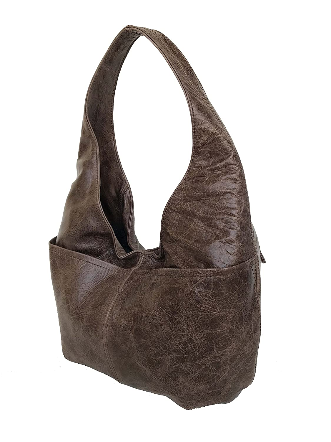 e9f004224709 Amazon.com  Fgalaze Distressed Brown Leather Hobo Bag w Pockets ...