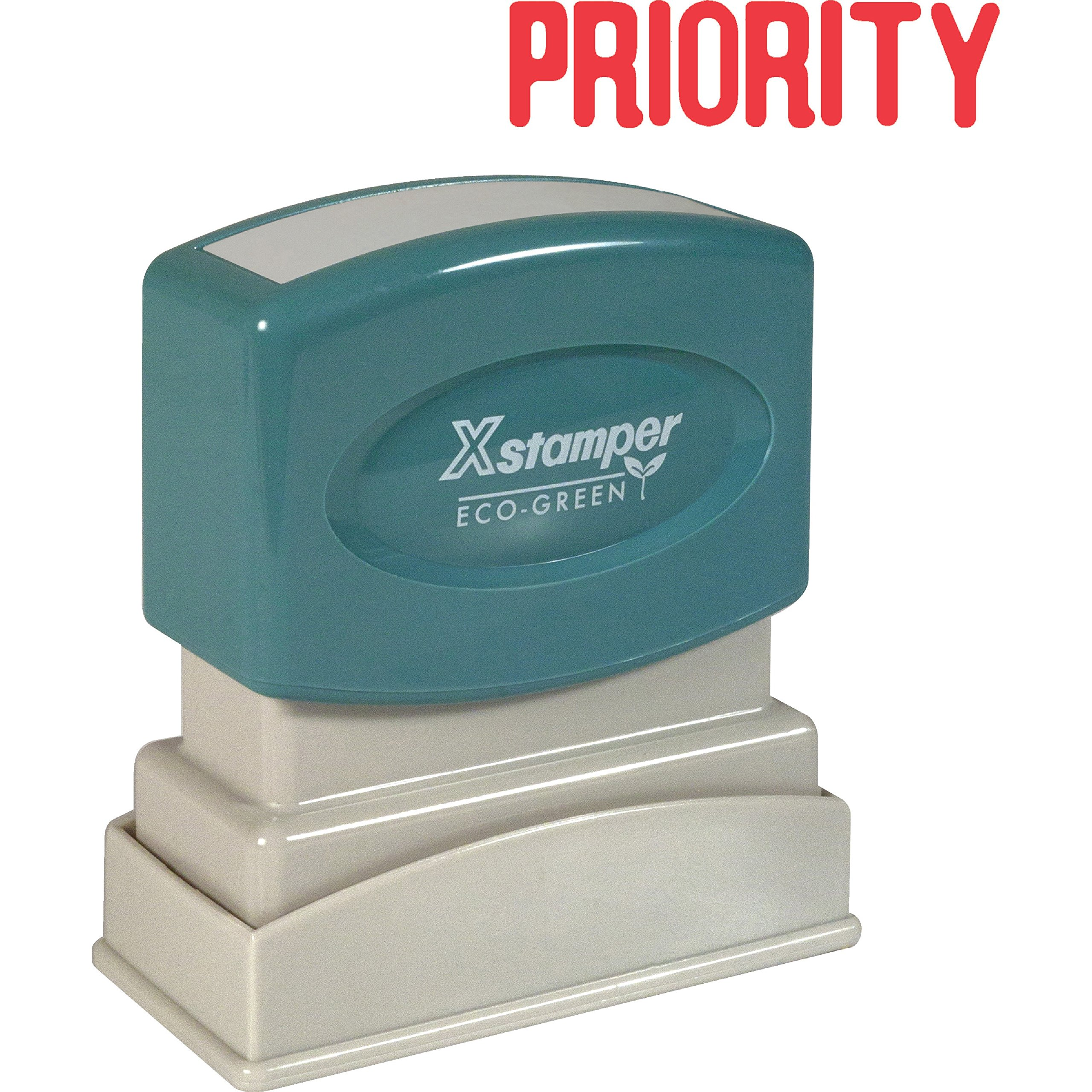 Xstamper(R) One-Color Title Stamp, Pre-Inked, ''Priority'', Red