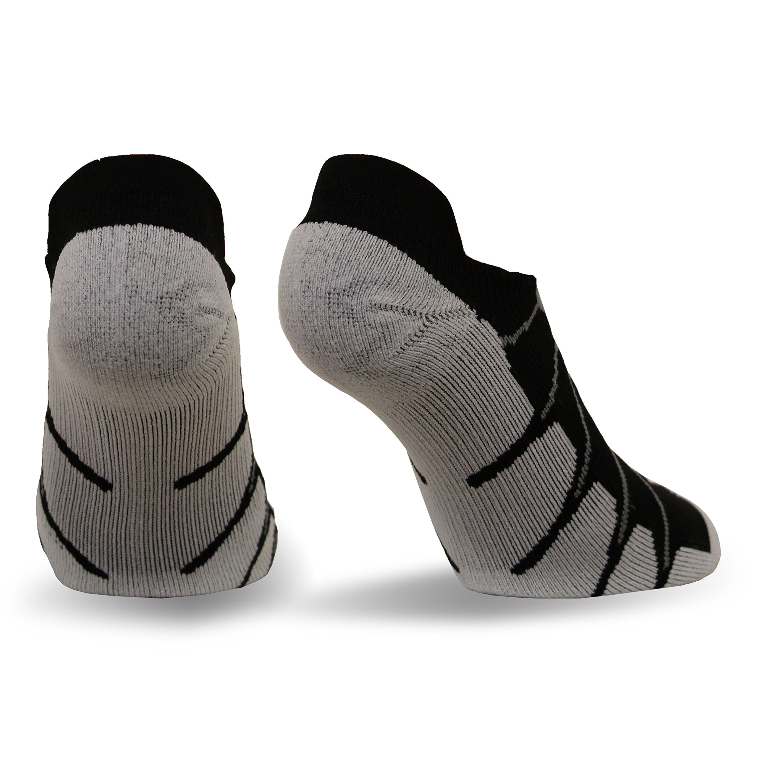 Sox Italy No Show Ghost Socks - Silver Drystat Plantar Support Performance Socks - Black, Large - SS6011 by Sox