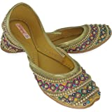 Fulkari Genuine Leather Comfortable Handwork Embroidered Beads Multicolor Flat Jutti Ethnic Shoe