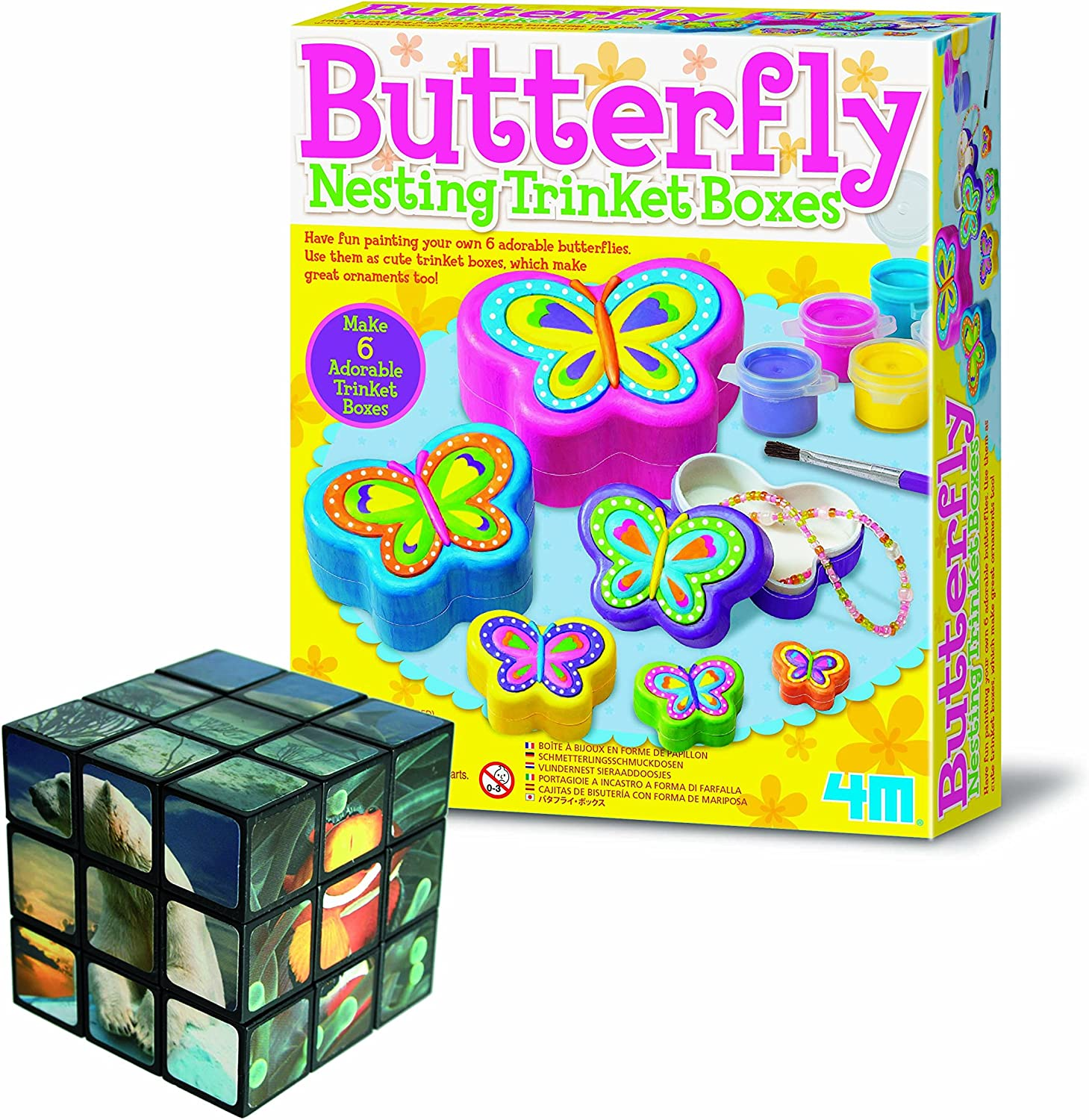 Gift Present Christmas Xmas Stocking Filler Birthday Toys Games Girls Children Best Value Make Your Own Butterfly Nesting Trinket Boxes Arts Crafts /& Creative FREE Sealife Puzzle Thinking Set