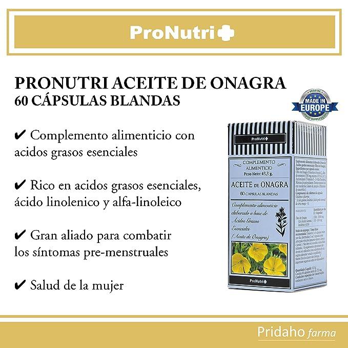 PRONUTRI - PRONUTRI Aceite de Onagra 60 cápsulas blandas: Amazon.es: Salud y cuidado personal
