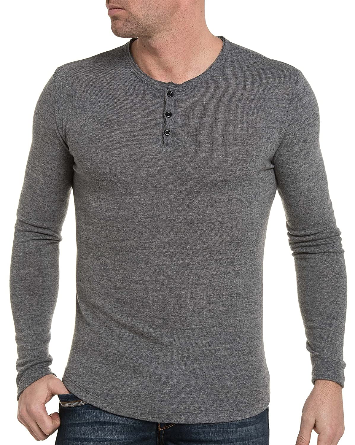 BLZ jeans - gray sweater 3 buttons