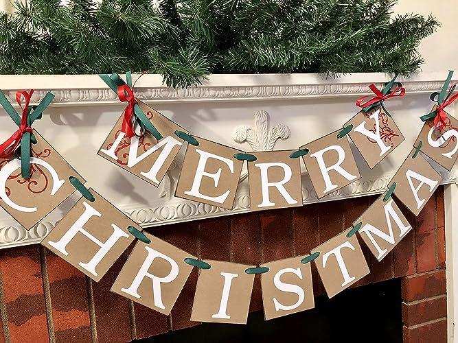 Christmas Mantle.Amazon Com Country Christmas Banner Merry Christmas Banner