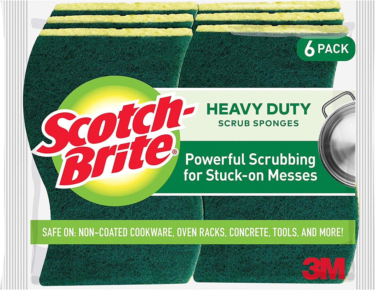 Scotch-Brite Heavy Duty Scrub Sponges, Stands Up to Stuck-on Grime, 6 Scrub Sponges: Health & Personal Care